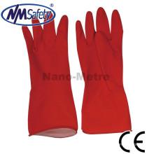 NMSAFETY china vermelho longo látex luvas de lavar louça