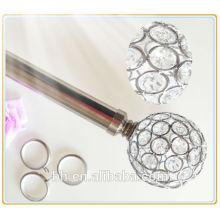 Decorativo metálico telescópico aço escovado Cortina Rod