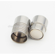 BX001 2/3/4/5/6/7/8MM Stainless steel magnetic clasp for leather cord bracelet DIY jewelry Findings free sample OEM logo