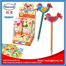 Novidade galo galinha caneta esferográfica brinquedo com doces