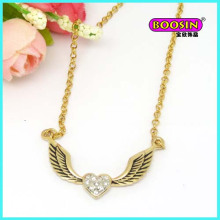 Custom Made Wholesale Fashion Alloy Wing Pendant Gold Necklace