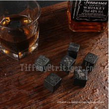 New Whiskey Stones 6pcs/SET Premium Drink Chilling granite marble saponite Stainless Steel whiskey stone