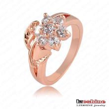Mujeres traje de oro rosa plateado flor anillo de moda (ric0012-a)