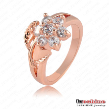 Women Costume Rose Gold Plated Flower Ring Fashion (RiC0012-A)