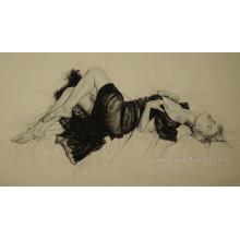 Mulher nu japonesa Handmade da pintura