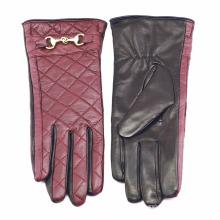 Dame überprüft Muster Schaffell Leder Mode fahren Handschuhe (YKY5212-1)