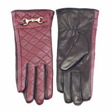 Lady Checked Pattern Sheepskin Leather Fashion Driving Gloves (YKY5212-1)