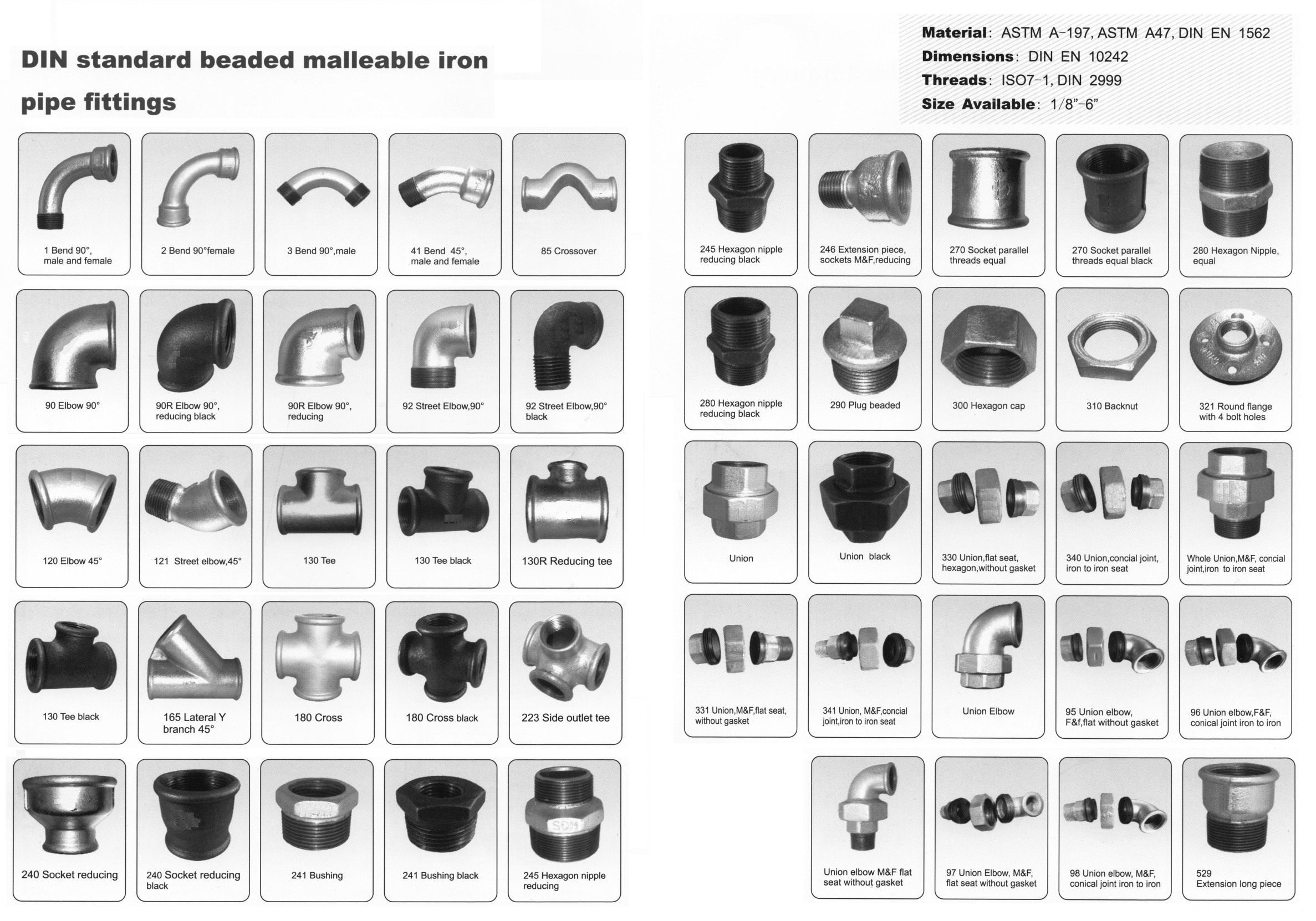 Beaded type malleable iron iron pipe fittings