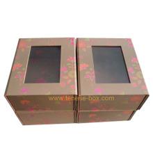 Caixa de presente de embalagem de papel de arte elegante com janela