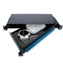 Panel de conexiones de fibra de 24 puertos tipo cajón deslizante negro