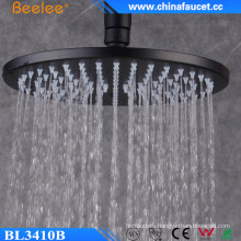 10′′ Round Black Ss304 Ceiling Wall Hanger Rainfall Top Shower