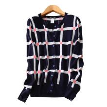 Mode Frauen Strickjacke O-Ausschnitt einreihig bunten Spleiß Raster Muster Dekor reine Kaschmir-Strickjacke Pullover