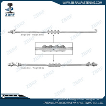 Insulated double end gauge tie rod for switches
