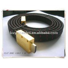 Cable plano de HDMI 1.4v 1080p Ethernet 3D con la chaqueta de malla de nylon