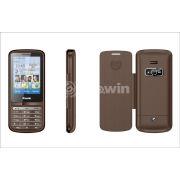 Brown Dual Sim Card Phone  , Bar Cell Phone With 850hz / 900hz / 1800hz / 1900mhz