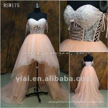 RSW175 Sheer Körper Asymmetrische kurze Tüll Brautkleider