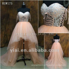 RSW175 Sheer Body Asymmetric Short Tulle Wedding Dresses