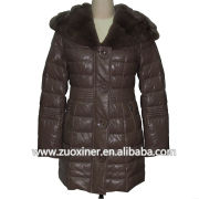 High fashion winter brown imitation sheep leather fur coat for women button clousure 2013