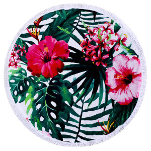 Tropical Forest Banana Leaves Round Beach Towels
