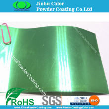 Highly protective transparent clear green topcoat powder coating