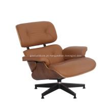 Réplica de cadeira de couro Eames clássico intemporal