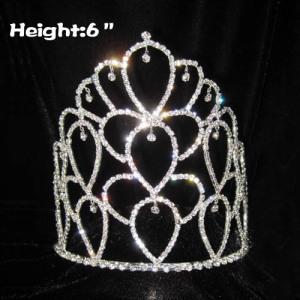 Coronas de cristal de diamantes de imitación al por mayor de 6 pulgadas