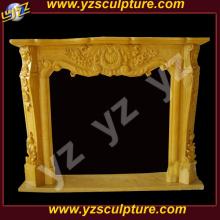 Крытый желтый каменный камин Mantel Электрический камин