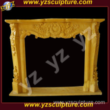 Indoor Yellow Stone Fireplace Mantel Electric Fireplace