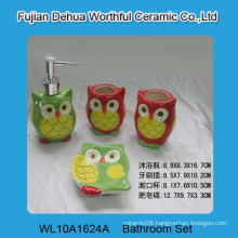 High quality 4 pcs ceramic owl bathroom accessory set