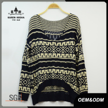 Women Vintage V-Neck Curve Hem Sweater