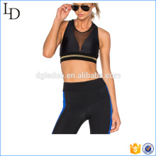 Black plain lycra yoga wear sexy women gym wear set