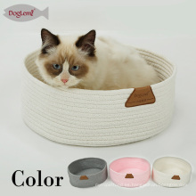 Tindy Handmade Cotton Bed Rope Bed para Cat Round Portable Pet Cave