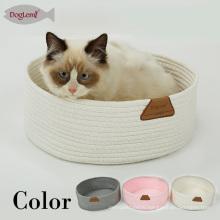 Tindy fait à la main le lit de corde de coton de couture pour la grotte portative ronde d'animal de chat