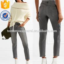 Sadey Cropped Slim Boyfrien Jeans Fabricação Atacado Moda Feminina Vestuário (TA3061P)