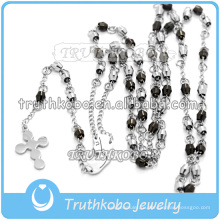 316 Из Нержавеющей Стали Мода Черный И Серебряный Цвет Бусины Розария Ожерелье Ювелирные Изделия