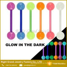 Glow in The Dark UV acrílico Barbell Piercing Tongue anillos de joyería del cuerpo