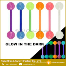 Glow in The Dark UV Acrylic Barbell Piercing Tongue Rings Body Jewelry