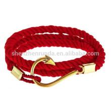 Atacado Moda China Red Flag Bracelets corda de aço inoxidável Gold Anchor com Gold Fishhook Pulseira para homens Jóias náuticas