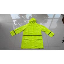 PVC-Regenmantel mit hoher Sichtbarkeit und Kapuze