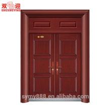Hoja galvanizada del diseño cultural chino antirrobo de la seguridad de la puerta doble de la entrada de acero