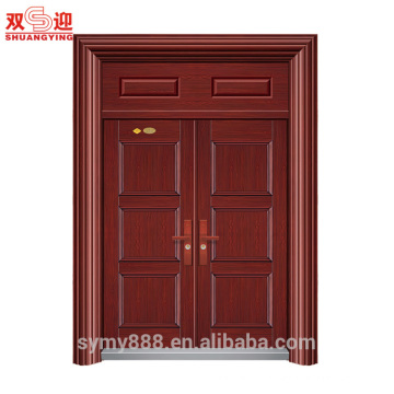 Steel Entry Double Door Security Anti-theft Chinese Cultural Design Galvanized Sheet