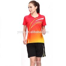 Ajuste seco e badminton design de jersey de qualidade superior para casais, moda personalizado badminton jersey