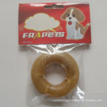 "Dog Food 3"" Natural Rawhide Pressed Ring Dog Chew"