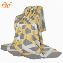 Custom Jacquard Knitted 100% Cotton Cover Blanket