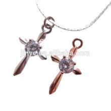 Design simples de moda 18k colar de ouro preenchimento cruz