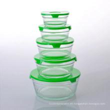 Juego promocional de cinco vasos de vidrio con tapa