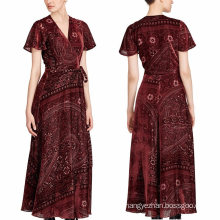 Burn-out Velvet Wrap Maxi Dress