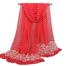 Top vendedor impresso bolinhas padrão de renda chiffon lenço hijab turco