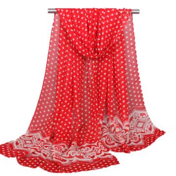 Top imprimé pois imprimé dentelle mousseline turque hijab écharpe