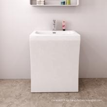 Lavabo de baño de lujo blanco cuadrado de hotel al por mayor